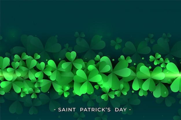 聖パトリックの日の緑のクローバーの葉の背景