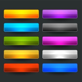 Десять глянцевых блестящих широких пустых кнопок