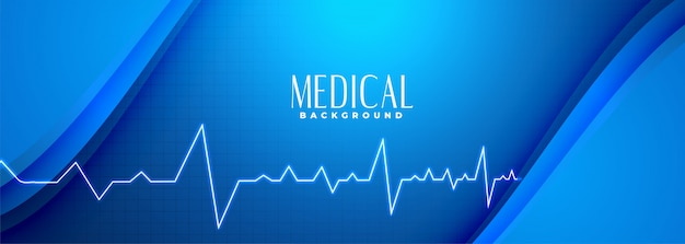 ハートビートラインと医学の青いバナー