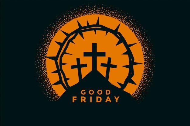 良い金曜日の背景に十字架、とげの冠