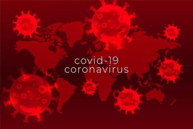 コロナウイルスのパンデミック拡散背景、赤の色合い