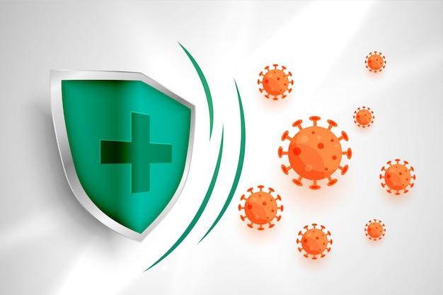 背景に入るコロナウイルスを保護する医療用シールド