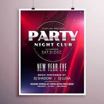 Ночной дизайн шаблона партия флаер с подробной информацией о событиях