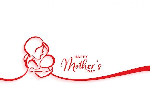 幸せな母の日のためのママとベビーのシルエットデザイン