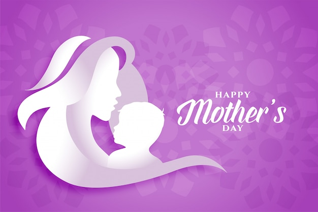 Счастливая мама день матери и ребенка силуэты фон