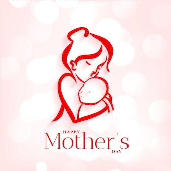 母と赤ちゃんの母の日の背景を抱擁
