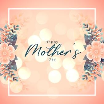 幸せな母の日花の装飾背景デザイン
