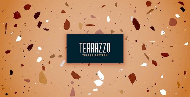 茶色の色合いのテラゾー床タイルパターン