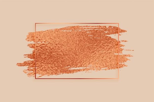 ローズゴールドまたは銅色箔テクスチャフレームの背景