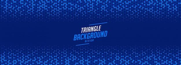 青い三角形のハーフトーンパターンの広いバナーデザイン