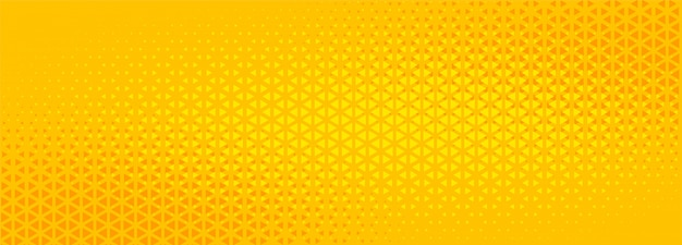 明るい黄色の三角形ハーフトーン抽象的なバナーデザイン