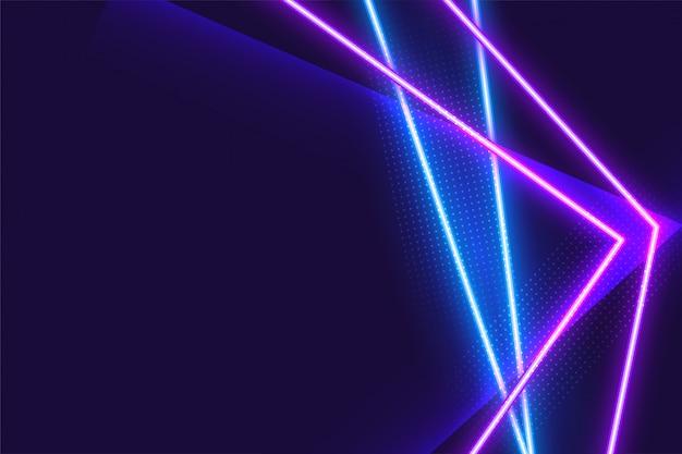 抽象的な幾何学的な青と紫のネオンの背景