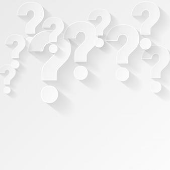 最小限のスタイルで白い疑問符の背景