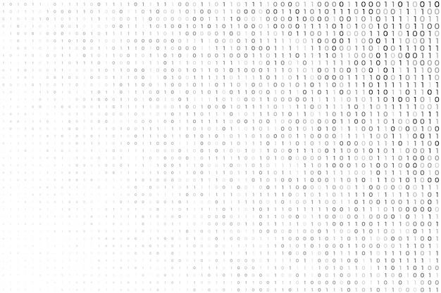 バイナリコード番号とデジタルの白い背景