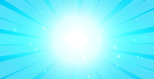 重心光と明るい青い光る背景