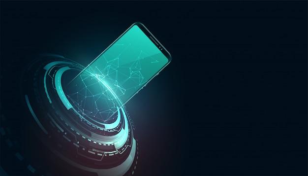デジタルの未来的なモバイル技術の概念の背景