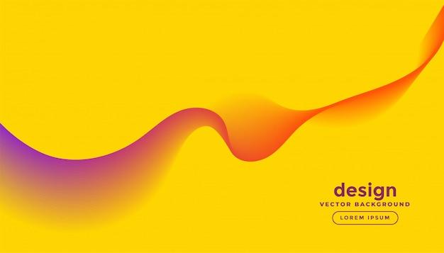 黄色の背景デザインで抽象的なカラフルな波の線