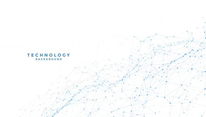 Белый фон с низким поли соединением цифровых линий