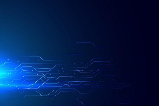 青い技術回路図の輝くライン