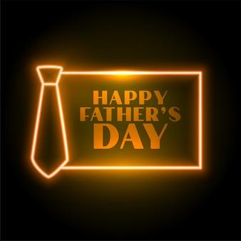 Счастливый день отцов дизайн карты в неоновом стиле