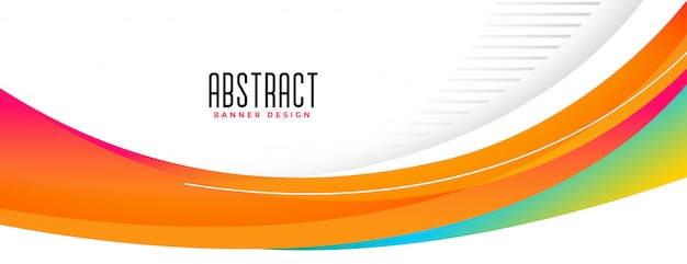 波状の抽象的なオレンジ形の広いバナーデザイン