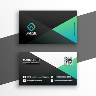Геометрический элегантный дизайн визитной карточки бирюзового цвета