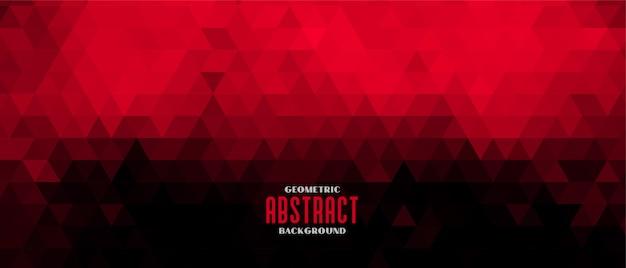 赤と黒の抽象的な三角形パターンバナーデザイン