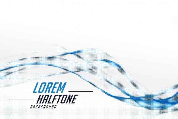 白い背景のデザインにスタイリッシュな波状の青いハーフトーン