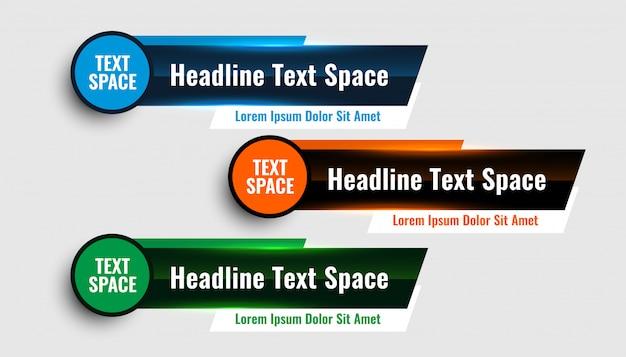 Три современных нижних третьих баннера дизайн шаблона