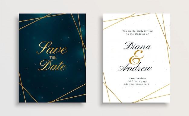 創造的なロイヤルゴールデンライン結婚式招待状カードデザイン