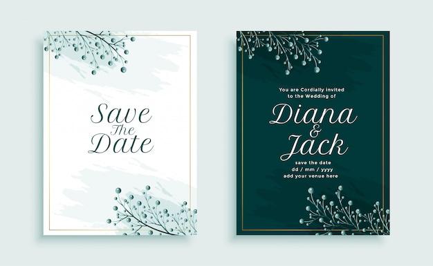 葉の装飾と自然スタイルの結婚式の招待状のテンプレートデザイン