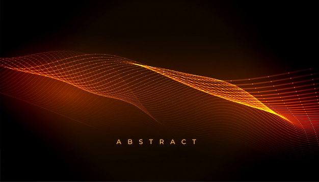 背景デザインを流れる抽象的な輝く波線