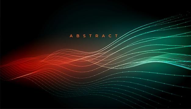 抽象的なデジタルライン輝く波状の背景デザイン