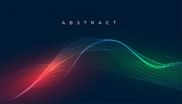 デジタル輝くカラフルな波線の背景デザイン