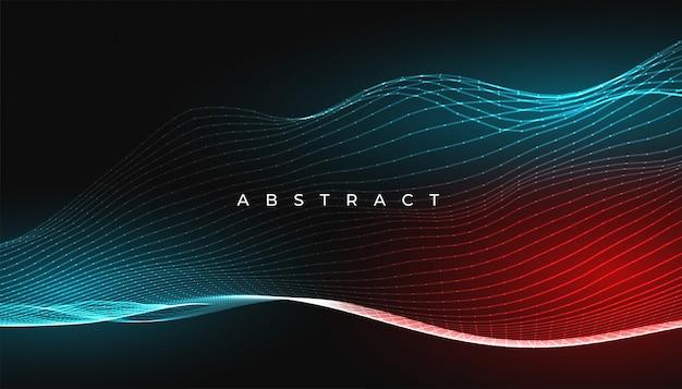 デジタル輝く抽象的な線波背景デザイン