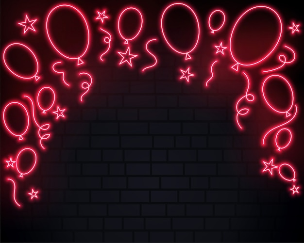 Празднование воздушных шаров в красном неоновом фоне стиля
