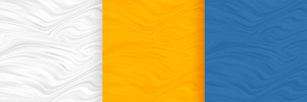 抽象的な波状形状パターンの空白の背景セット