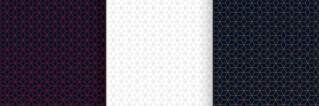 六角形の線パターン背景デザインのセット