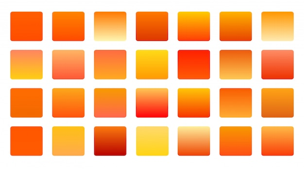 オレンジ色のグラデーションの大きなセットの背景