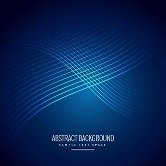 曲線ラインパターンと青の背景