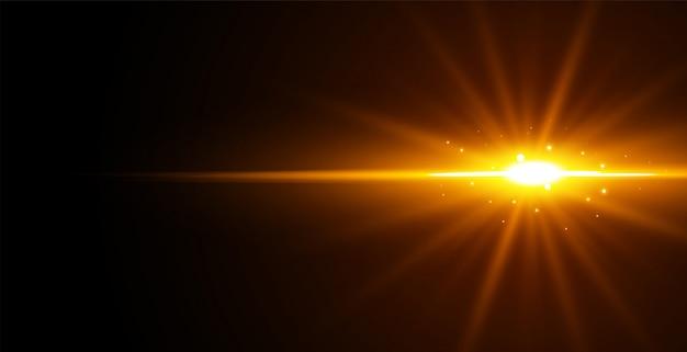 黒の背景に輝く光の効果
