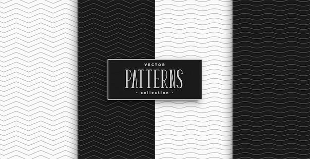 最小限の黒と白のジグザグと波パターンセット