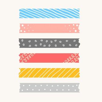 パターンのかわいいリボンまたは破れた紙テープセット