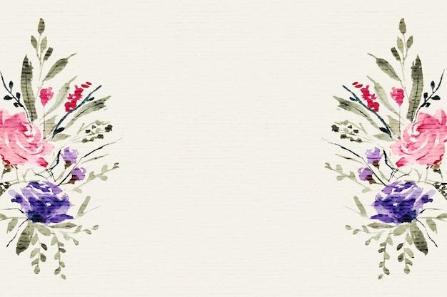 テキスト領域と水彩の花の花の装飾背景