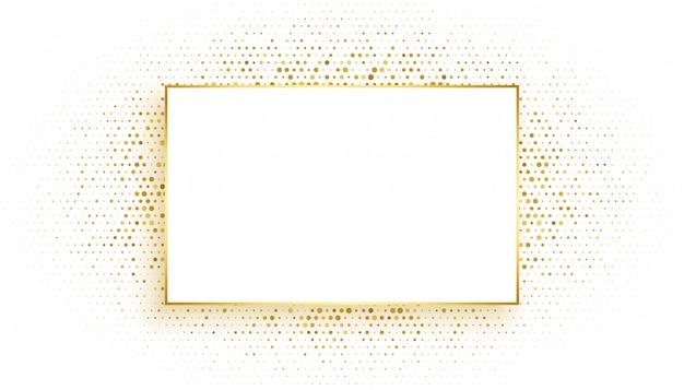 キラキラの背景を持つ黄金の長方形フレーム
