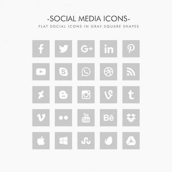 Иконки социальных сетей в плоском сером цвете