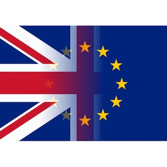 英国および欧州連合の旗のマージ