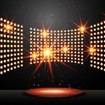 ライトと輝く星で表彰台