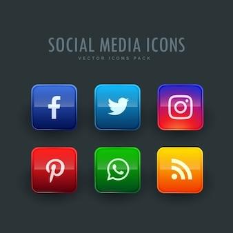 Стандартный стиль кнопки социальной сети иконки пакет