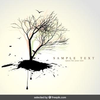 木のシルエットと自然の背景